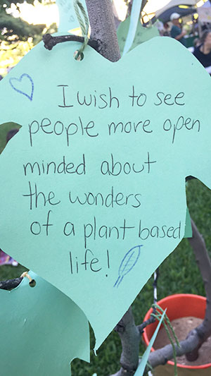 """Blessing Tree leaf: """"I wish to see people more open-minded about the wonders of a plant-based life!"""""""