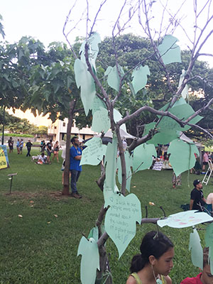 Blessing Tree with paper leaves with written aspirations
