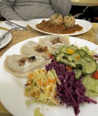 Pierogies and veg