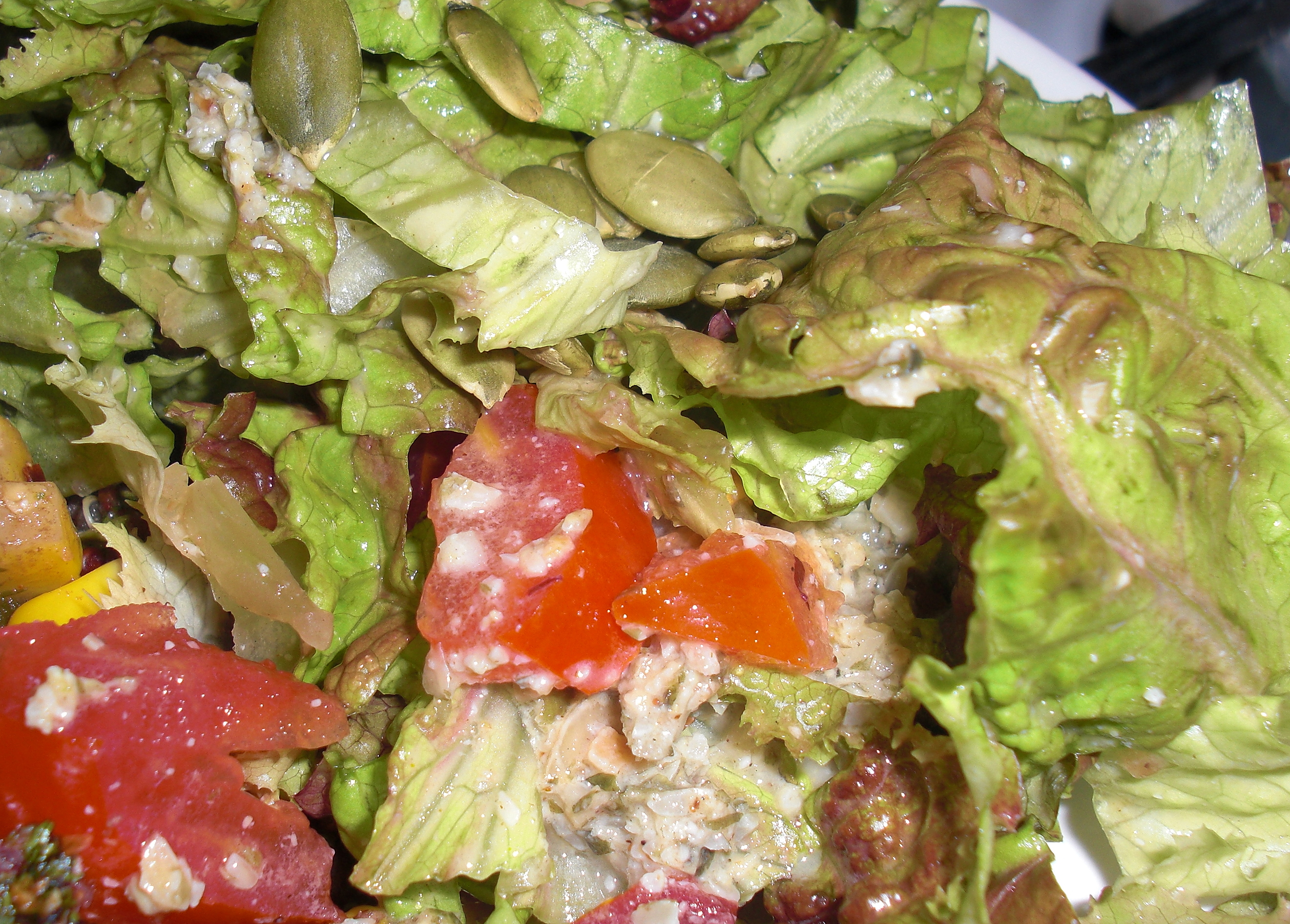 Salad with toasted pumpkin seed dressing