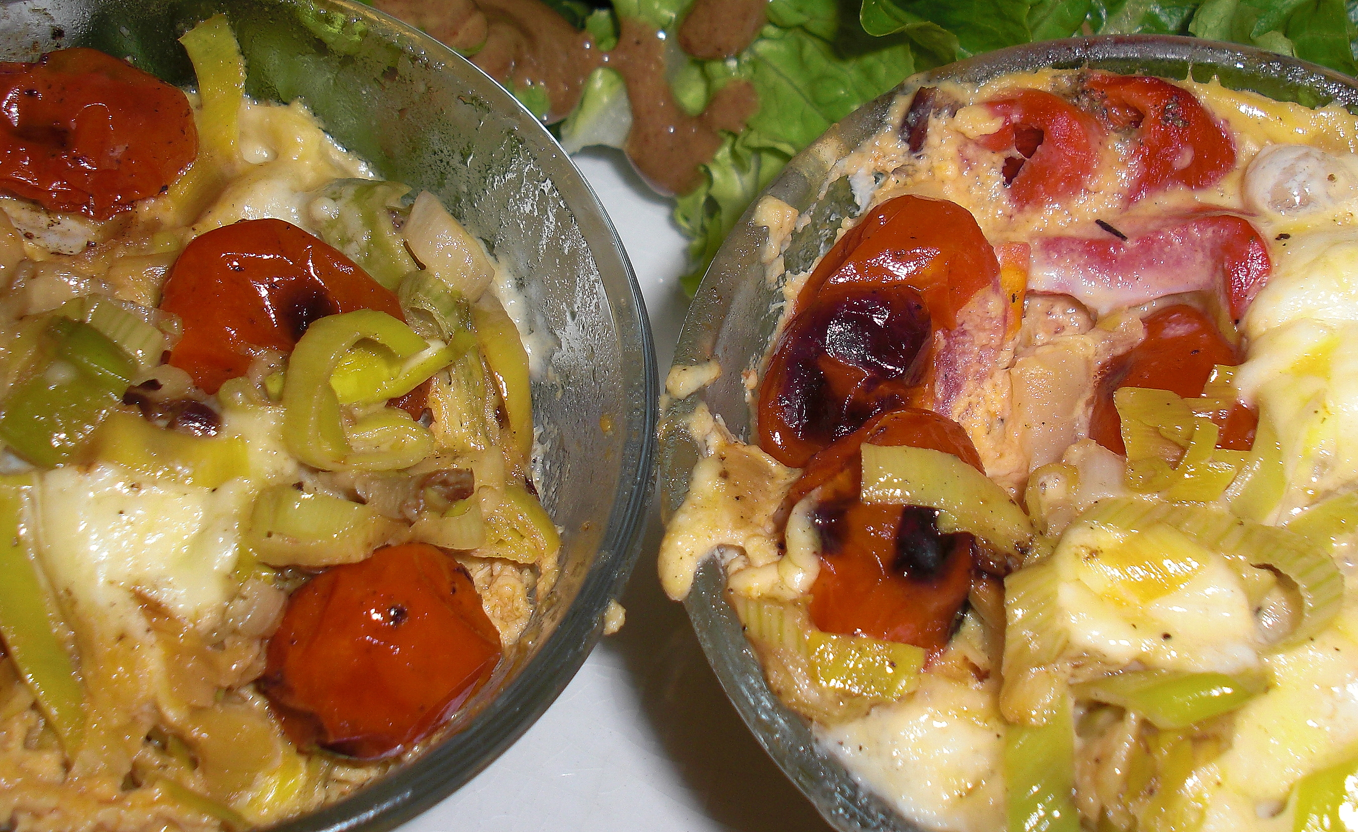 two little egg and leek brunch cups