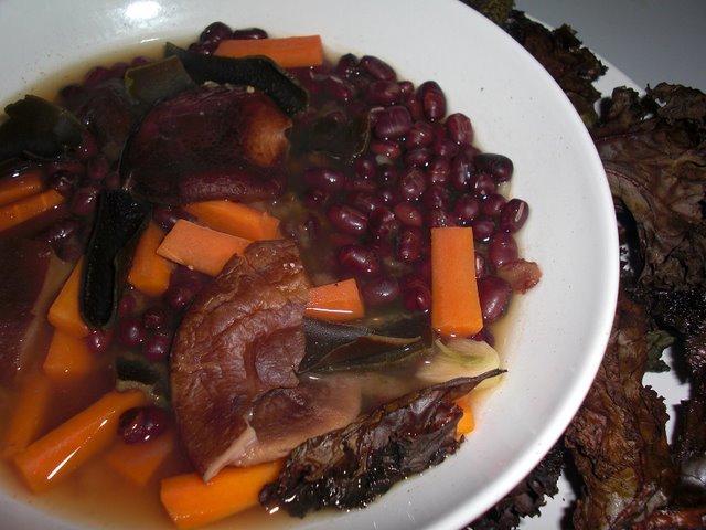 Adzuki bean, miso, and veggies soup