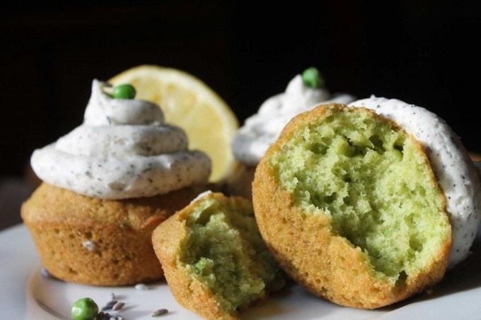 Pea Cupcakes (Pea Lemon Cupcakes with Earl Grey Buttercream) | Veggie Desserts Blog