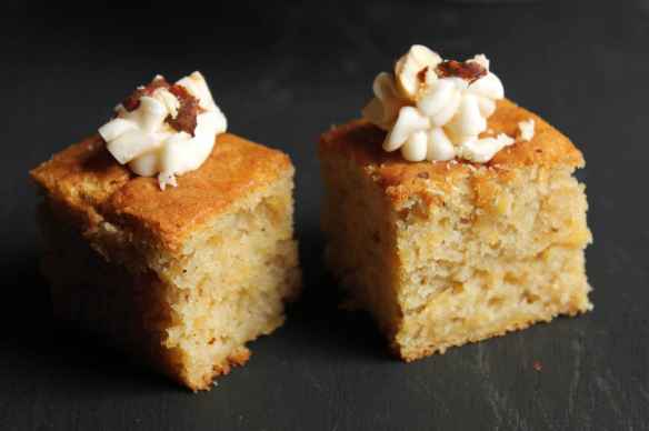Swede (Rutabega) Nutmeg Cake with Brown Butter Frosting and Salted Hazelnuts