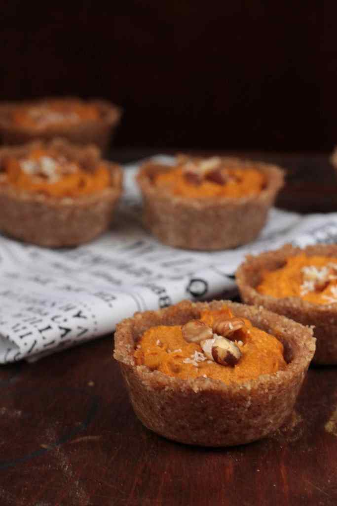 Pumpkin Tarts with Chai Hazelnut Crust | Veggie Desserts