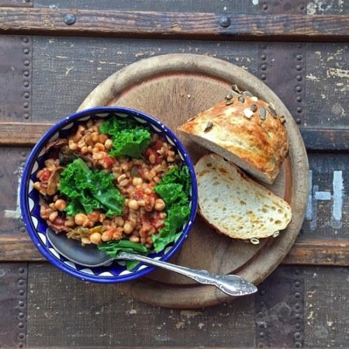 Farro Chickpea Kale Stew   VeggieDesserts Blog