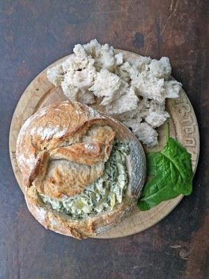 Hot Spinach and Artichoke Dip in a Sourdough Bread Bowl   Veggie Desserts Blog