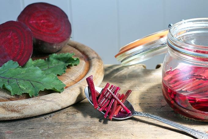 Quick Pickled Rosemary Beet Stems   Veggie Desserts Blog