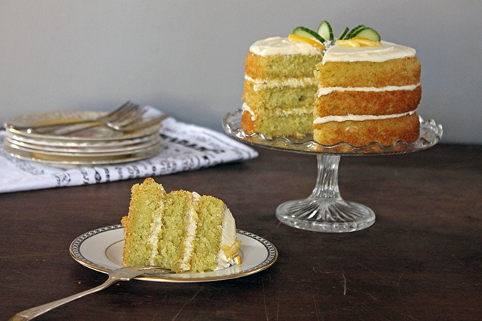 Lemon and Cucumber Cake with Gin Icing | Veggie Desserts Blog