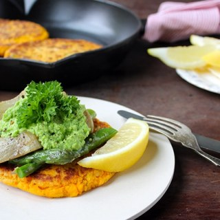 Sweet Potato Cakes with Pea Puree