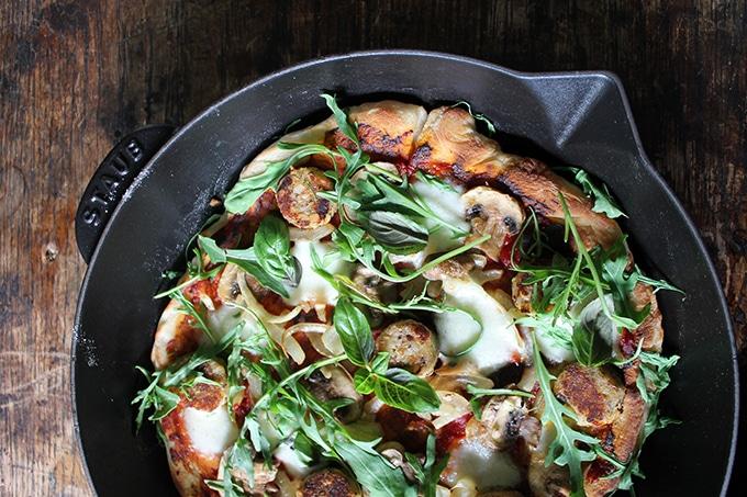 Vegetarian Sausage Skillet Pizza   Veggie Desserts Blog
