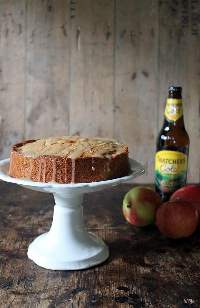 Apple Cider Cake with Salted Cider Caramel Drizzle | Veggie Desserts Blog