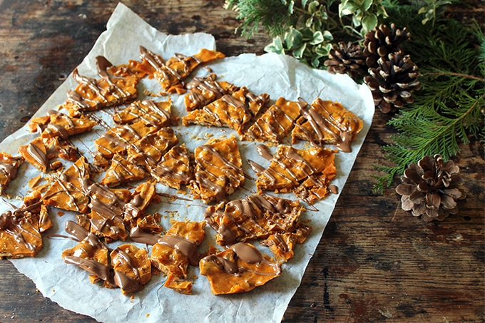 Ginger Pecan Brittle with Chocolate Drizzle | Veggie Desserts Blog by Kate Hackworthy