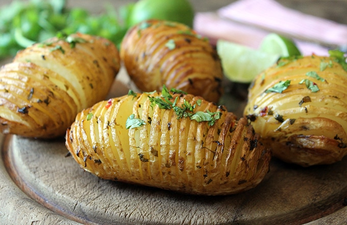 Hasselback Potatoes with Chilli and Lime Butter   VeggieDesserts.co.uk