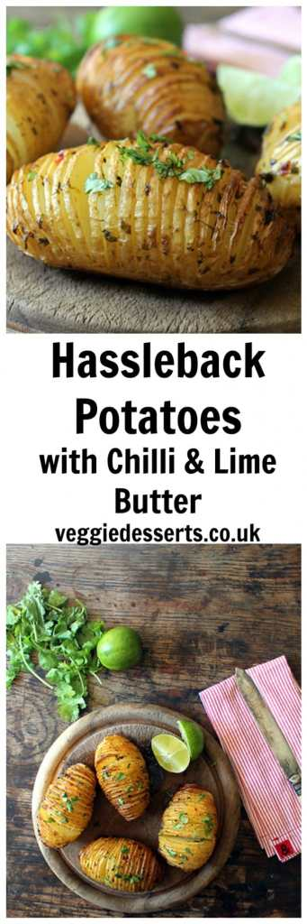 Hasselback Potatoes with Chilli, Coriander and Lime Butter | Veggie Desserts Blog