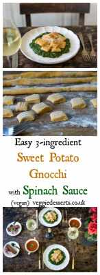 Easy 3-ingredient Sweet Potato Gnocchi - with Spinach Sauce  | Vegan | VeggieDesserts Blog