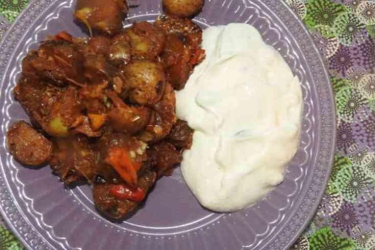 breakfast potatoes with greek yogurt on plate