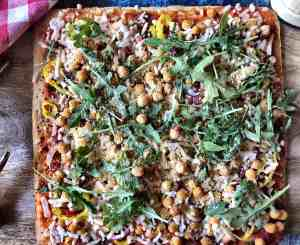 Chickpea Topped Pizza