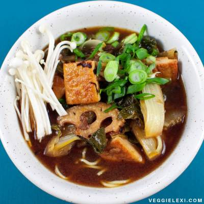 Vegan Ramen with Lotus Root, Tofu, Baby Bok Choy, and Scallions