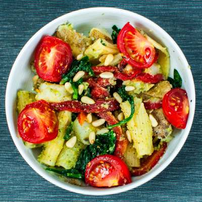 Oil Free Spinach Pesto with Potato and Pasta Salad