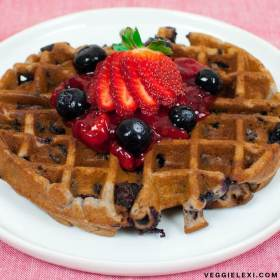 Oil Free and Gluten Free Blueberry Waffles with Strawberry Sauce, Blueberries, and Strawberries