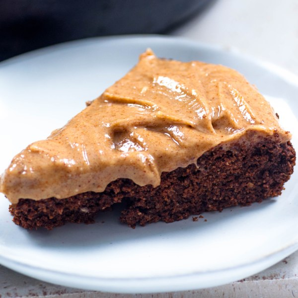 Vegan Gluten Free Oat Flour Chocolate Cake with Almond Butter Icing.