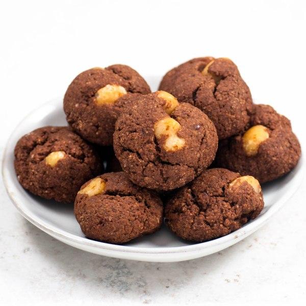 Vegan Gluten Free Oat Flour Brownie Bites with Macadamia Nuts.