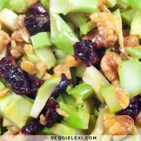Leftover Broccoli Stem Salad with Dried Cherries and Walnuts and a Mustard Based Dressing - by Veggie Lexi