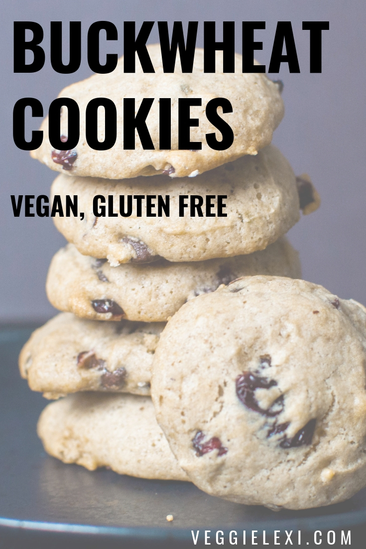 Vegan and Gluten Free Chocolate Cranberry Buckwheat Cookies - by Veggie Lexi