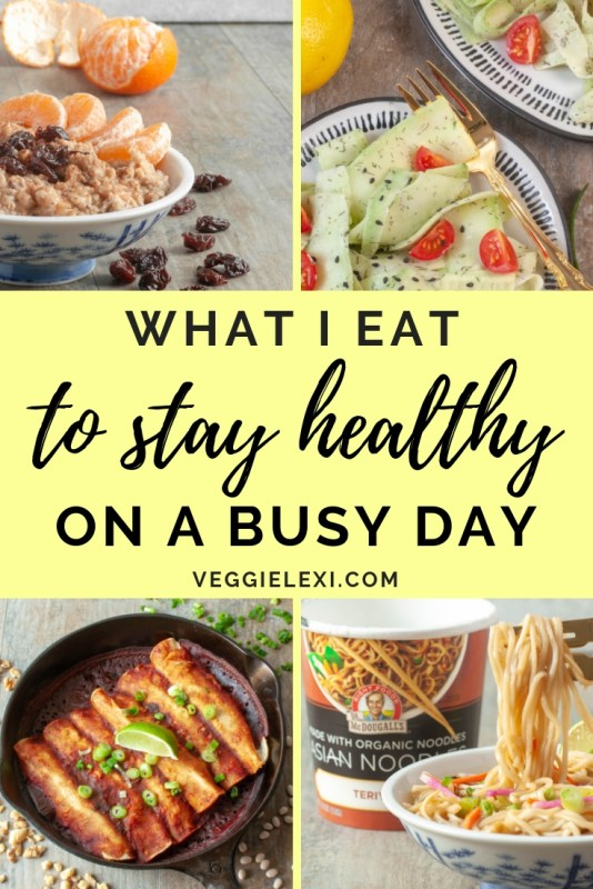 What I Eat to Stay Healthy on a Busy Day (McDougall's Oatmeal, Instant Ramen, and Easy Homemade Enchiladas with a Cucumber Salad) - by Veggie Lexi