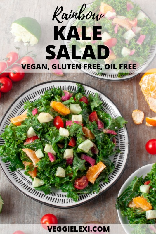 Try this delicious vegan, gluten free, and oil free kale salad! This healthy salad is packed with nutrients, vitamins, minerals, and antioxidants. This salad is made with kale, clementine, cucumber, watermelon radish, and cherry tomatoes. It's tossed in a homemade lime juice, rice vinegar, peanut butter, coconut amino, and water salad dressing. - by Veggie Lexi