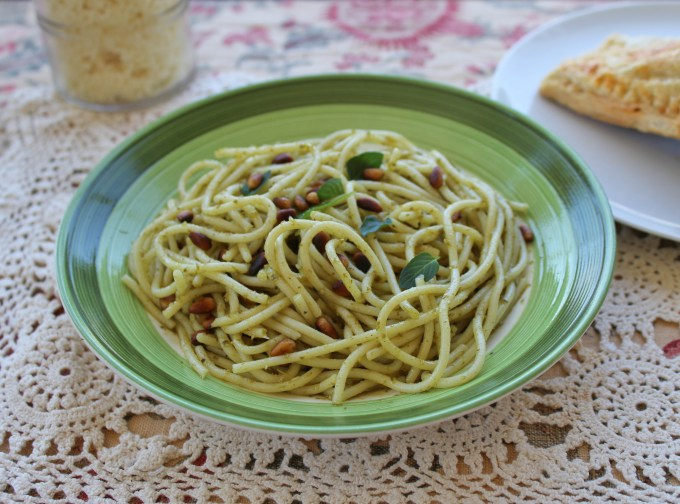 Pine Nut Pesto Pasta is a fresh & flavorful dinner choice for those in a hurry. Toasting the pine nuts made my kitchen smell wonderful.