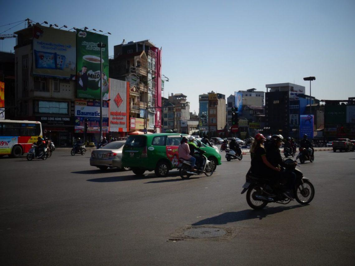 crossing the road in Hanoi, Vietnam