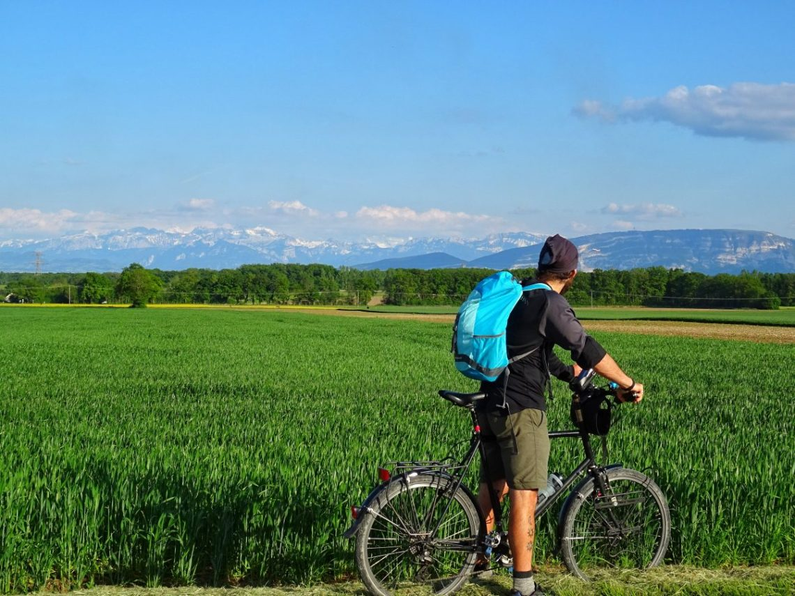 Man on bike looking at the Alps