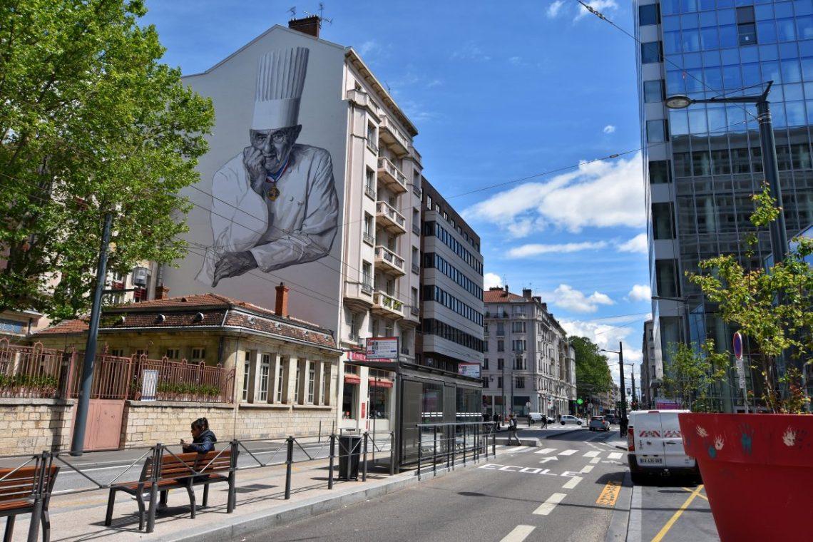 A tribute to Paul Bocuse outside the Halles de Lyon