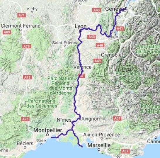 Via Rhone Cycle Map