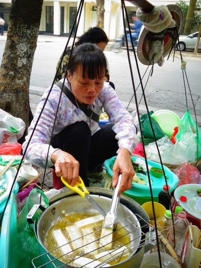 tofu seller street food Vietnam Hanoi