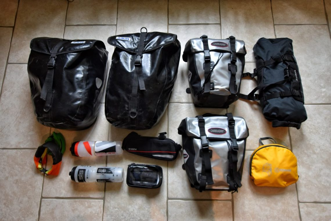 Cycle touring camping bags