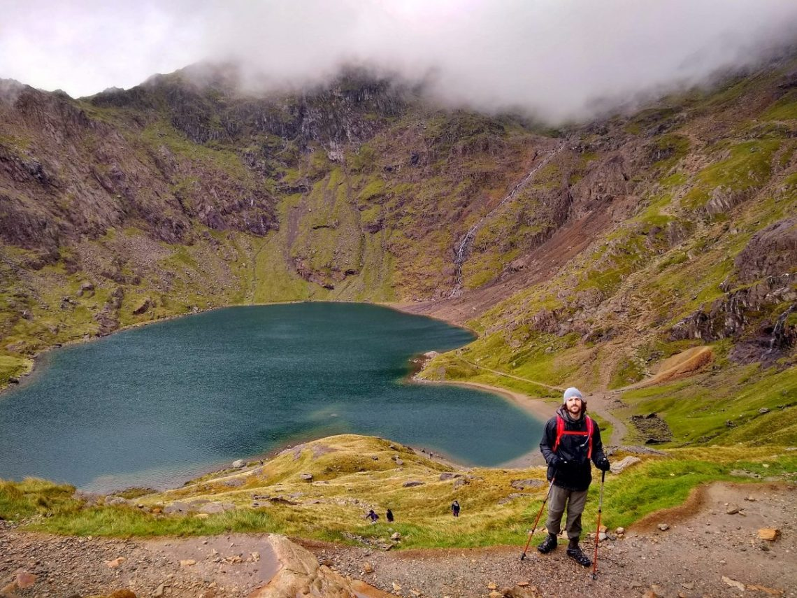 Man hiking the Pyg Track Snowdon