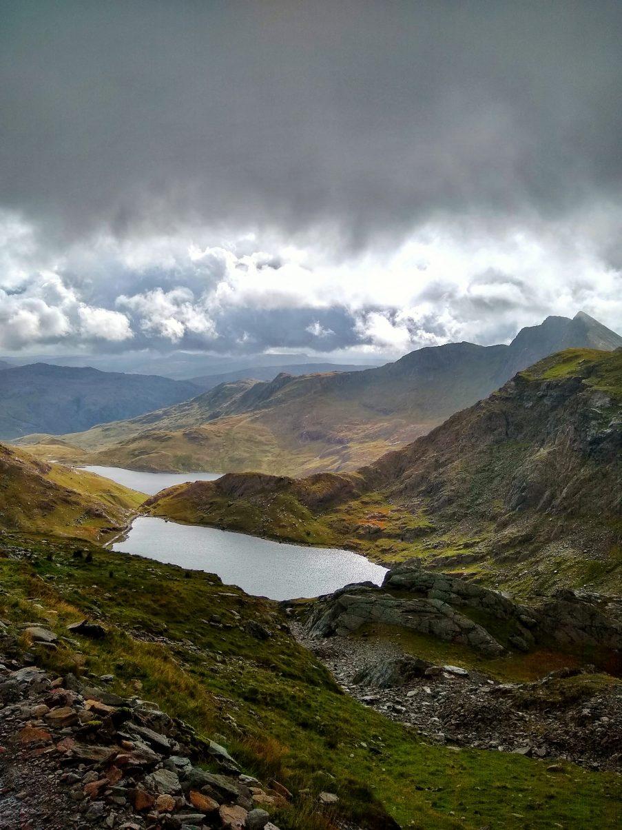 Views of the lakes hiking Snowdon