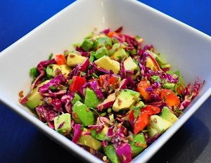 Red cabbage salad with avocado