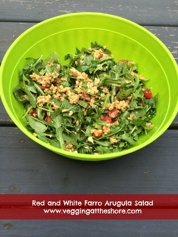 Red and White Farro Arugula Salad