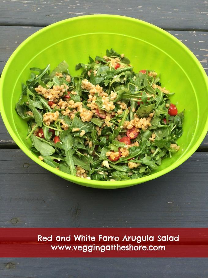 Red and White Farro Arugula Salad