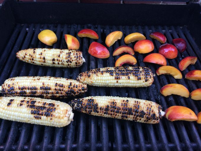 Corn and Peaches Grilling