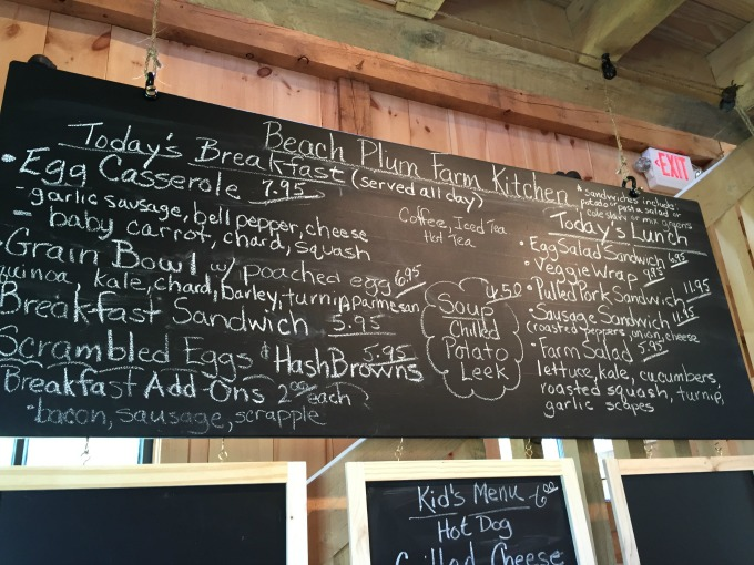 Beach Plum Farm Menu