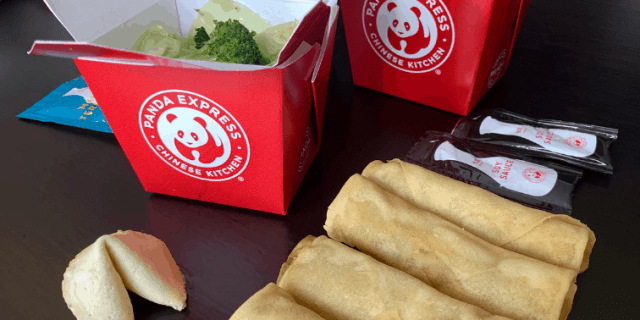 Panda Express Chow Mein and Spring Rolls