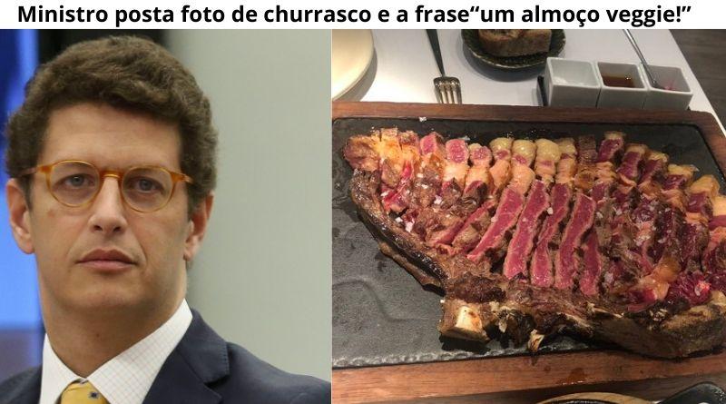 """Ministro do Meio Ambiente posta foto de churrasco e a frase """"um almoço veggie!"""""""