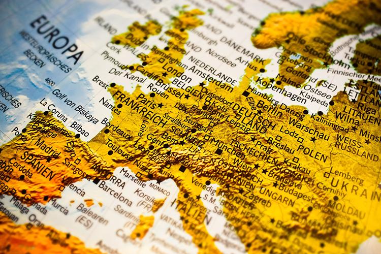 Kartbild över Europa
