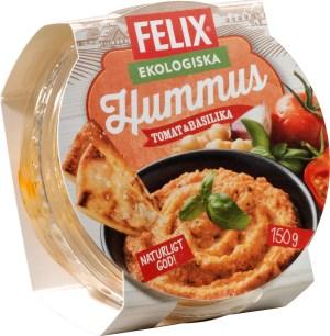 Förpackningen till Felix Hummus Original, rund plast med kartong rund i orange färger