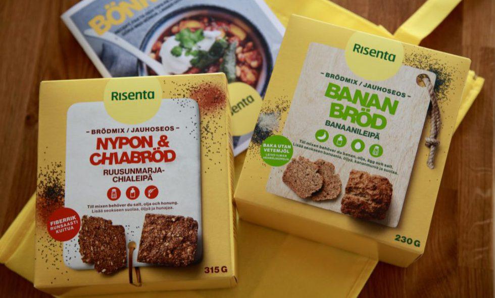 Två förpackningar med frömixer på en gul tygkasse och en broschyr med namnet Bönköket från Risenta
